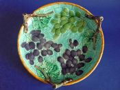 Wedgwood Majolica 'Grape and Basket Weave' Round Dish c1880